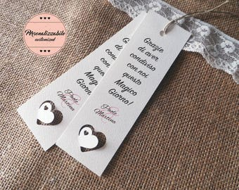Wedding placeholders. Customizable Wedding bookmark. Remember wedding with 3d heart.