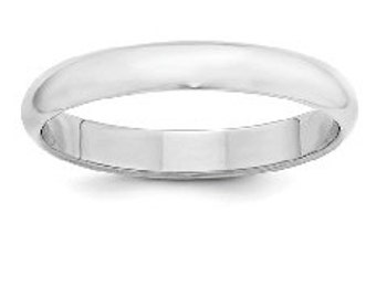 Sterling Silver Wedding Band 4 mm Half Round Men's & Women's Stackable Ring in Sizes 4 to 16
