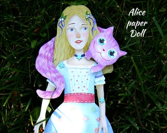 Paper doll, Alice doll, instant download, printable, articulated doll, art doll, Alice in wonderland,alice in wonderland decor,Cheshire Cat