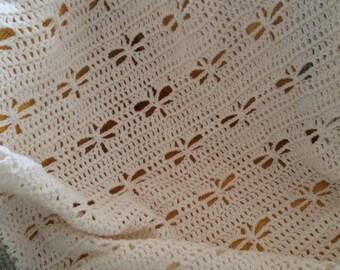 Handmade crochet baby cot blanket cream