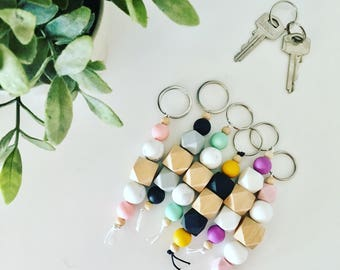 Keyrings - beaded with silicone and raw timber beads