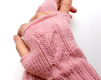 Pastel Pink Mitten, Autumn Trend Mitten, Hand Knit Fingerless Gloves. Arm Warmers, Tressed Knit Fingerless, Women Gift, Fingerless Mittens