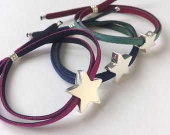 Pulsera STELLA/Estrella de Plata personalizada/Cordón elástico.