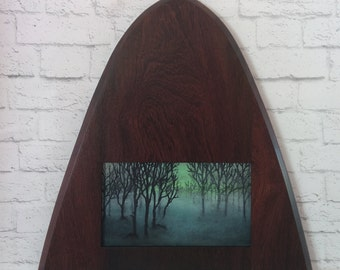 "Original Miniature Painting, ""Something Wicked This Way Comes"", Acrylic on Canvas, Custom Exotic Hardwood Frame"