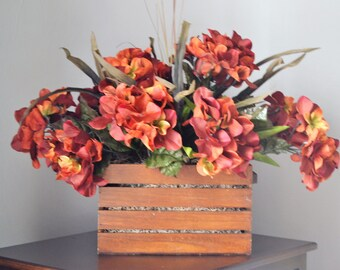HYDRANGEA  WOOD BASKET Golden Brown Hydrangea Large Centerpiece Arrangement