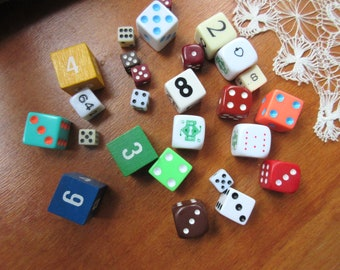Game dice collection of dice - game dice - mixed media - vintage dice-dice-games-assemblage