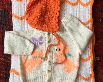 Vintage Set of Handknit Baby Items Cardigan Blanket and Bonnet Orange