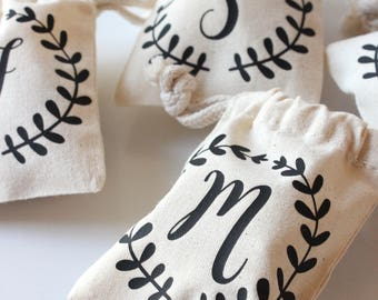 Monogram Favor Bags - Personalized Party Favor Pourches - Laurel Design - Set of 10