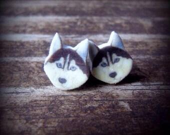 Husky earrings husky jewelry wearable art dog earrings dog jewelry pet earrings pet jewelry husky drawing husky art husky dog