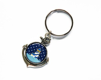 Lighthouse Key ring, keychain, keyring, Anchor keychain, stocking stuffer, Lighthouse keychain, nautical, gift under 10, anchor, blue (7838)