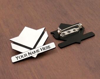 Customized Commander acrylic laser cut brooch
