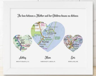 Mother Gift Birthday Mother Birthday Gift from Daughter Mother Daughter Distance Gifts for Mom and Dad Gifts Personalized Long Distance Map