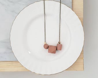 Isla Necklace |  Geometric trio  |  Soft Coral
