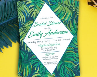 Tropical Palm Leaf Bridal Shower Invitation Tropical Bridal Shower Invitation Palm Leaf Tropical Invite Tropical Wedding Digital or Printed
