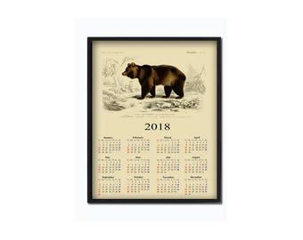 Bear calendar 2018 - animal calendar - handmade calendar - bear print - bear wall art - office calendar - gift idea