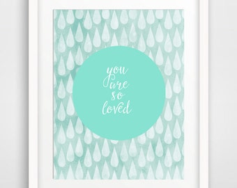 Nursery Wall Art, Printable Nursery Art Print, Watercolor Mint Nursery, Baby Shower Gift Kids Room Print, Instant Digital Download