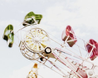 Fairground Print - Zipper Fine Art Photograph - Carnival Ride - Nursery Decor - Pastel Childhood Print - 8x12