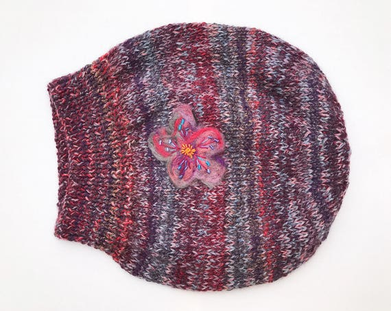 Winter Berry Slouch Hat - Dark Red & Purple Knitted Hat - Slouchy Hat beret - Purple and Red slouch hat - Ladies winter hat flower detail