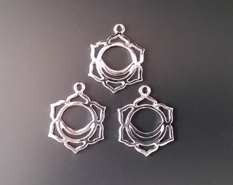 5 Silver Tone Chakra Pendants Jewelry Supplies Findings STCP30MM-5D2