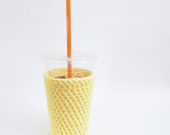 yellow cozy. iced coffee cozy. Crochet coffee cozy. yellow cup cozy. Cotton cup sleeve. Eco friendly cup jacket. Summer drink cozy.