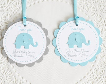 Baby Blue Elephant Tags, Thank You Tags,Baby Shower Tags, Personalized Tags, Birthday Favors