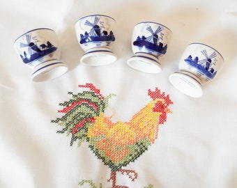 Set of 4 hand painted egg cups on stand 4 Dutch Delft egg cups Blue and white egg cups from Holland Netherlands Unused vintage egg cups