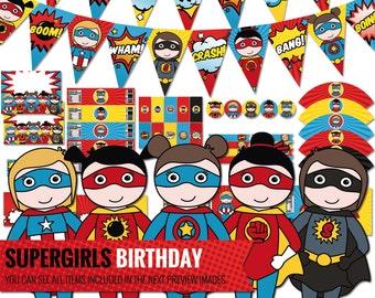 Supergirl Birthday Decorations Package Printable Comic Book Kids Party Decor Superhero Girls