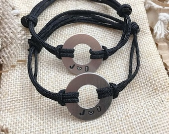 Couples, Matching Stamped Bracelets, 2 Bracelets, Aluminum Disc with Stamped Initials adjustable nylon cord, his and hers, Couples Initials