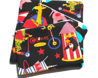 Reusable Sandwich Snack Bags set of 3 Zipper Circus Black Red Yellow