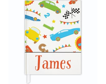 Personalized kids journal in race car theme, custom journal, hardcover journal, journal diary, writing journal, lined or blank journal