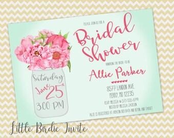 Watercolor Peony Invitation, Mason Jar Invitation, Bridal Shower Invitation, Floral Bridal Shower Invitation, Printable Invitation