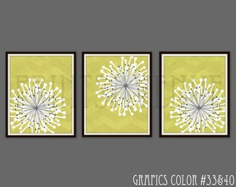FLOWER Art Prints, CHEVRON Wall Art, MODERN Floral Wall Decor, Chartreuse, White and Gray, Art Print, by Prints Avenue