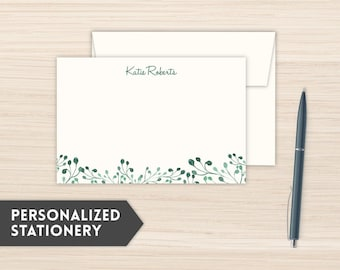 Personalized Stationery | Classic Stationery Set| Custom Stationery Cards | Custom Personal Note Cards | Personal Notecards |Whimsical Green