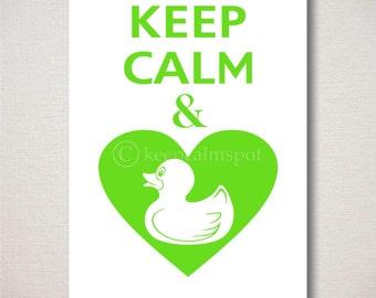 Keep Calm and LOVE RUBBER DUCKS Quack On Heart Typography Bathroom Art Print