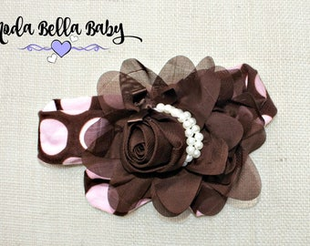 Brown and Pink Baby Headband, Newborn Headband, Christening Headband, Girls Headband, Flower Girl Headband, Photo Prop
