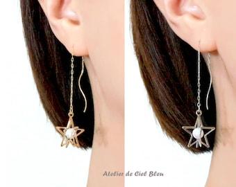 Star Earrings, Star Threader Earrings, Gold / Silver Star Long Threader Earrings, Pearl Star Earrings, Star Long Earrings, Star Jewelry