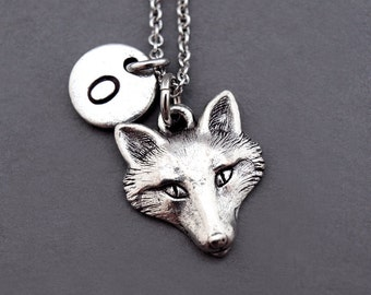 Fox Necklace, Fox head necklace, fox face, Silver fox charm, fox jewelry, initial necklace, personalized, antique silver, monogram