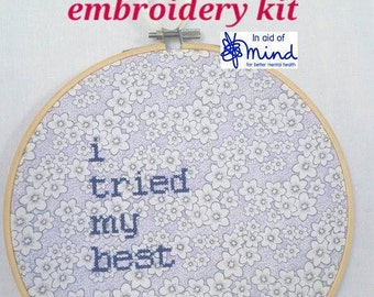 """Purple Cross Stitch KIT """"I Tried My Best"""" Embroidery 8"""" hanging mental health charity awareness diy gift new home apology floral decor house"""