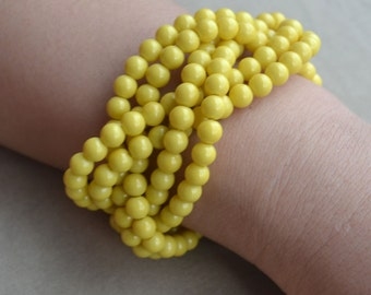 Yellow Pearl Bracelet,Yellow Bracelet,Yellow Bead Bracelet,Wedding Bracelet,Bridesmaids Bracelet,6 rows yellow pearl bracelets