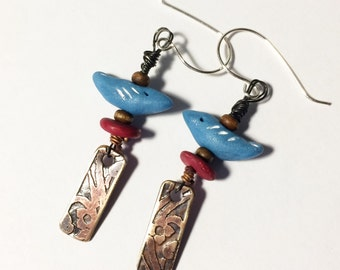 Bluebird Earrings with Etched Brass Dangles, Polymer Clay Bird Earrings - Free Domestic Shipping