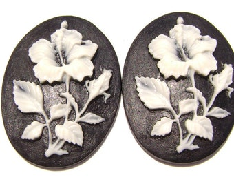 Cab Cabochon Cameo Acrylic Resin Flower White on Black, 40x30mm, 5 Qty