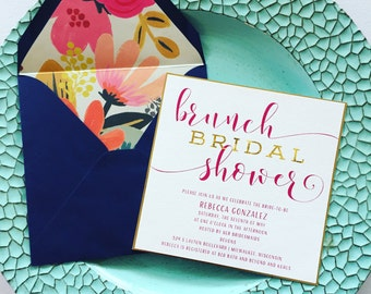 TANIA SUITE/Bridal Shower Invitation/Floral/Fuchsia/Imperial Blue/Gold Foil