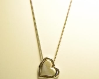 Sterling Silver Snake Chain with Two Hearts Necklace - Versatile