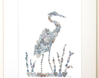 Heron print, heron wall art, nautical print, coastal print, heron decor, heron gifts, wildlife nursery, bird lovers gift, pebble art