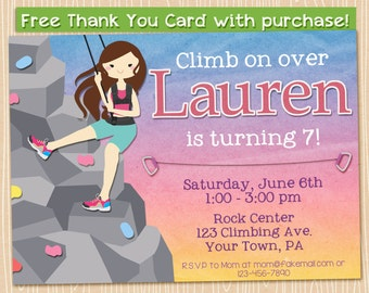 Printable Birthday Invitation Rock Climbing Party Girl Climber 5x7 hiking. FREE Thank You Card!