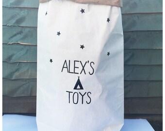 Personalised kids toy sack, toy storage, kids room, teepee, boys room, tribe