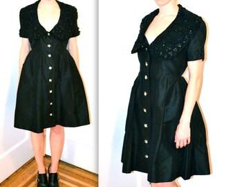 50s Vintage Black Dress Size Medium//  Vintage Beaded Dress// 50s Black Shirt Dress// 50s Formal Party Dress with Rhinestone Buttons