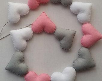 Heart garland, mini bunting, heart bunting, nursery decor, wall decor, bedroom decor, pastel nursery, baby girl bedroom, newborn baby gift