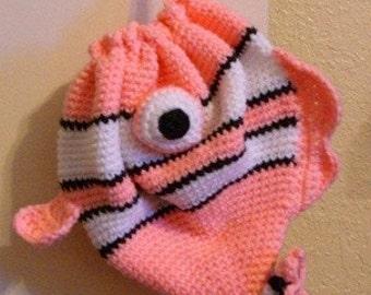 Fish Purse - Fish Drawstring Purse - Pink Fish Purse - Pink Fish Drawstring Purse - Clownfish Purse - Pink Clownfish Purse - Fish Bag