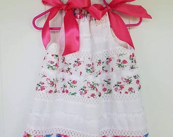 18-24mth One of a kind, white and pink floral print pillowcase dress